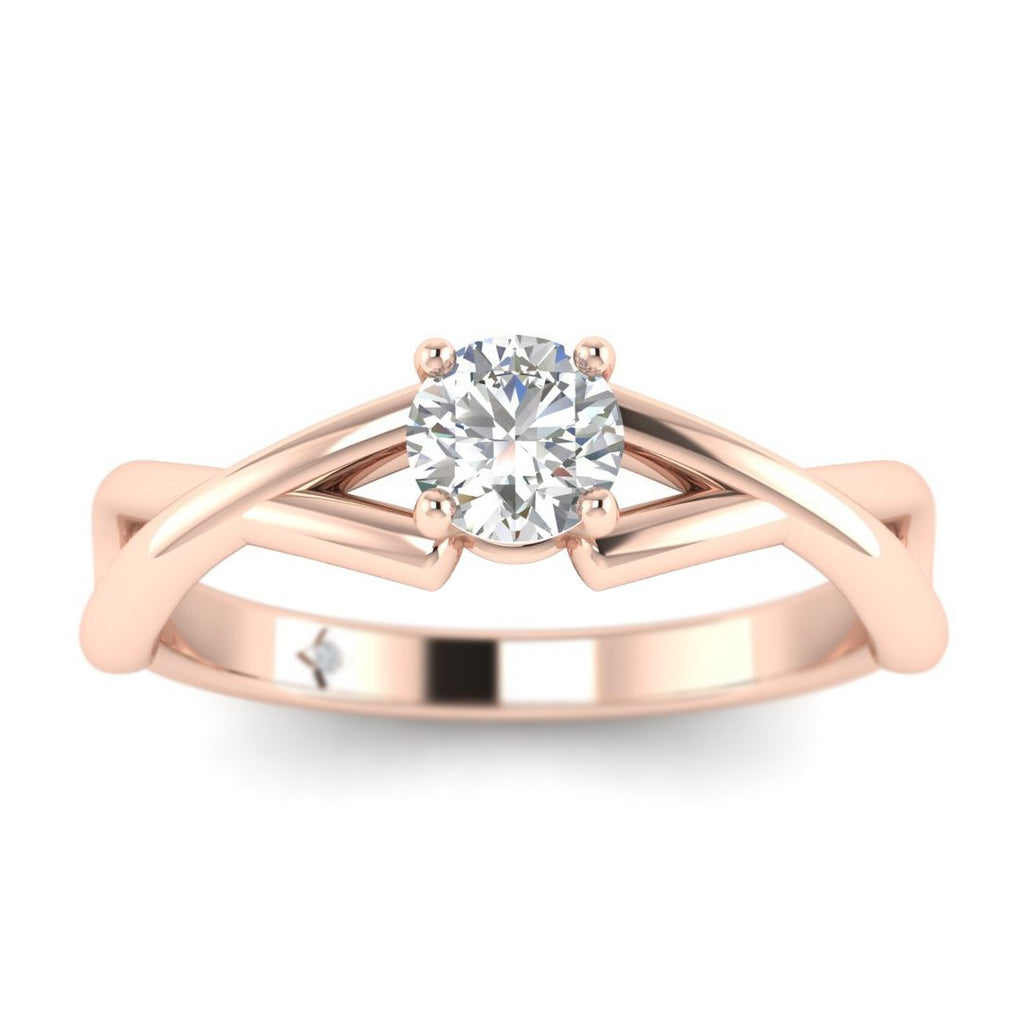 Round Diamond Infinity Twist Solitaire Engagement Ring in Rose Gold - Custom Made