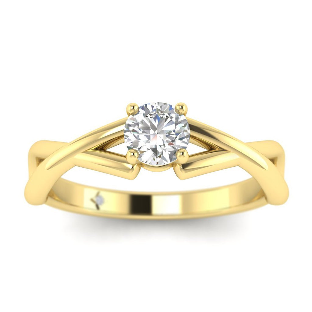 Round Diamond Infinity Twist Solitaire Engagement Ring in Yellow Gold - Custom Made