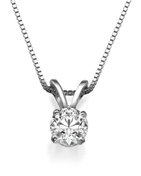 Pendants Round Diamond Necklaces with 0.40ct Real Diamond in 14k White Gold