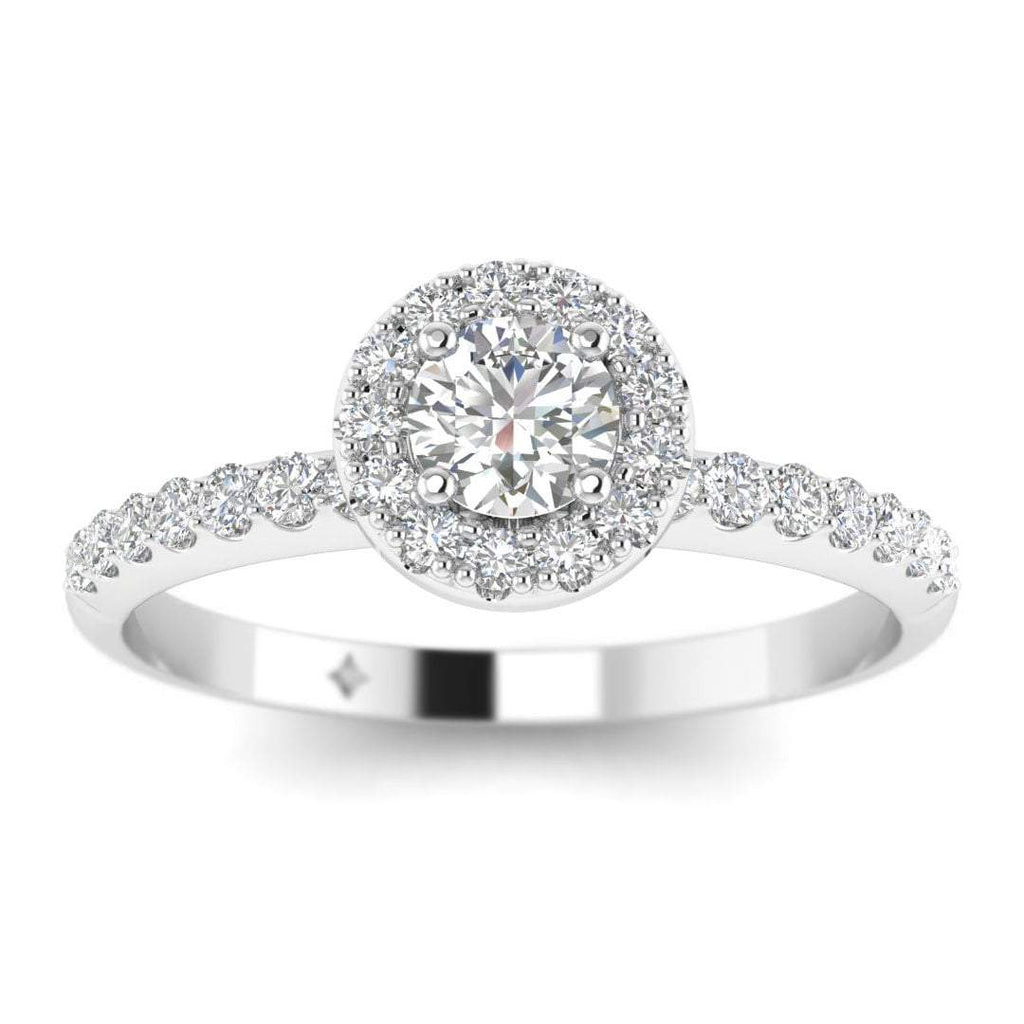 Round Diamond Pave Halo Engagement Ring in White Gold - Custom Made
