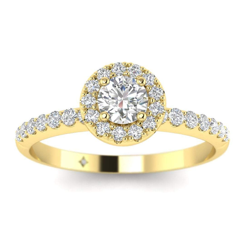Round Diamond Pave Halo Engagement Ring in Yellow Gold - Custom Made