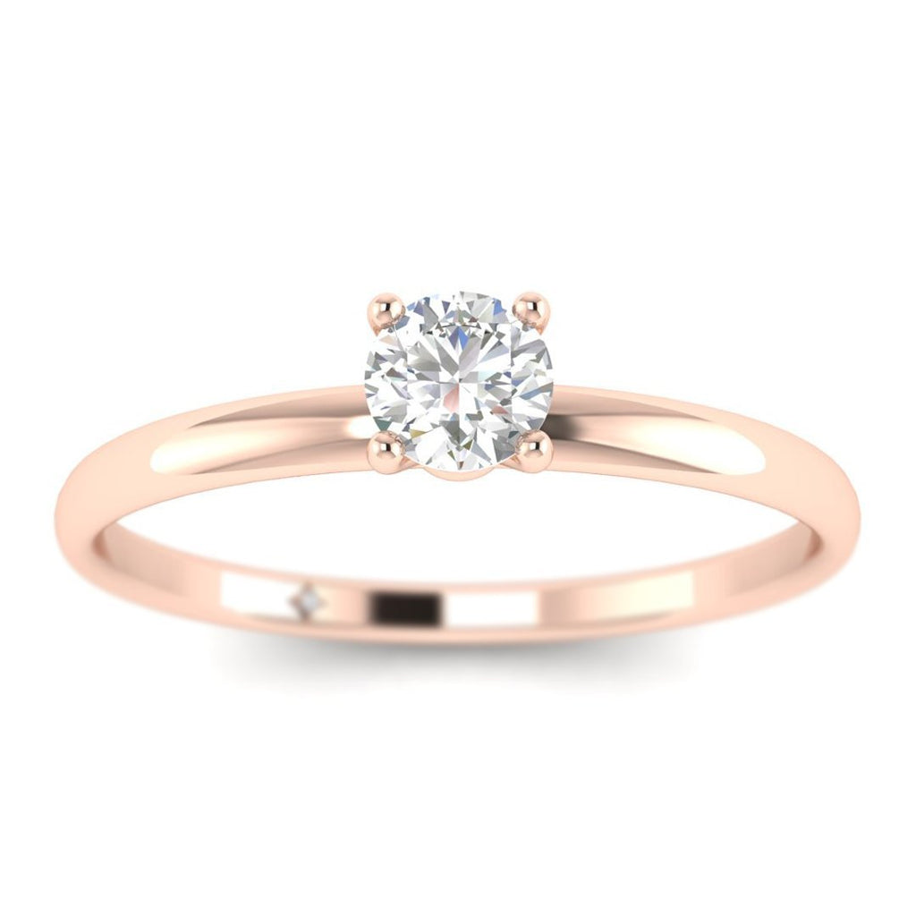 Round Diamond Solitaire Engagement Ring in Rose Gold - Custom Made