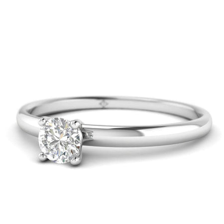EN Round Diamond Solitaire Engagement Ring in White Gold
