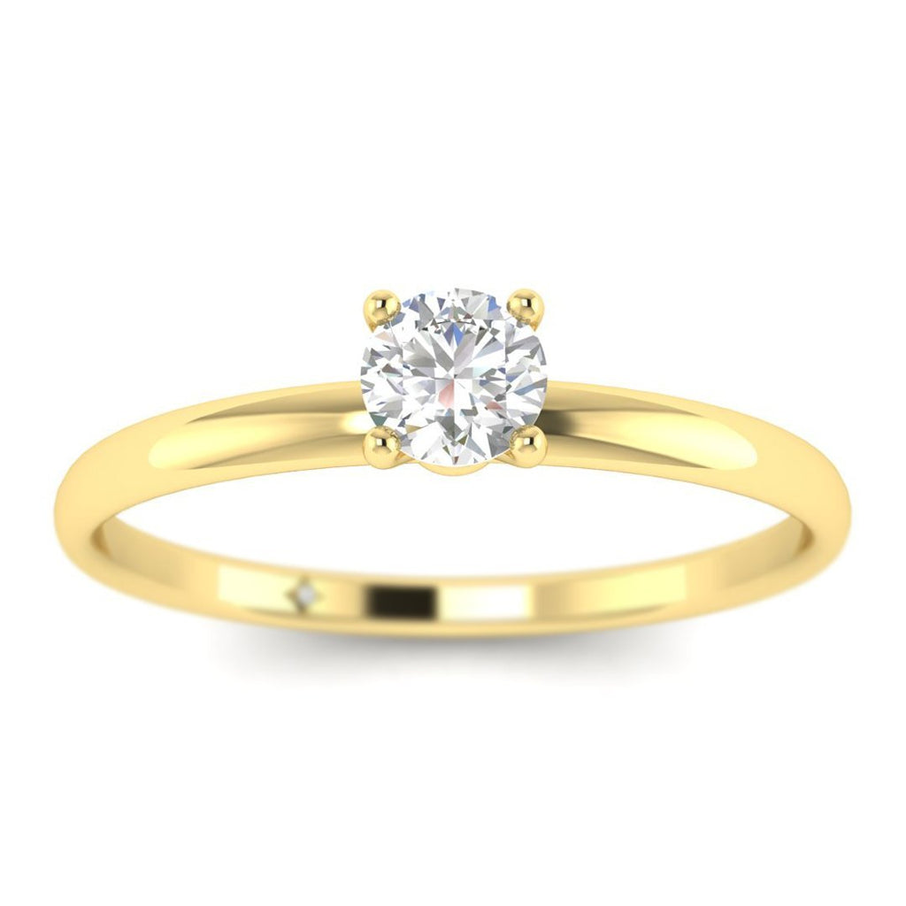 Round Diamond Solitaire Engagement Ring in Yellow Gold - Custom Made