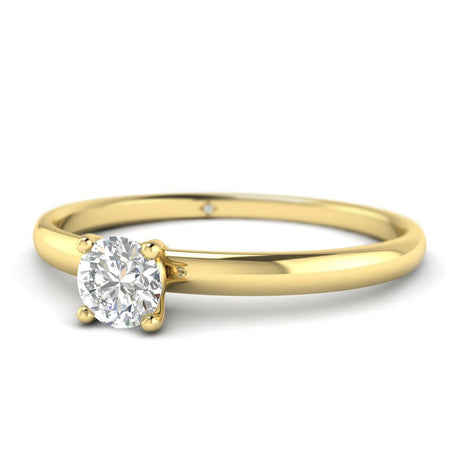 EN Round Diamond Solitaire Engagement Ring in Yellow Gold
