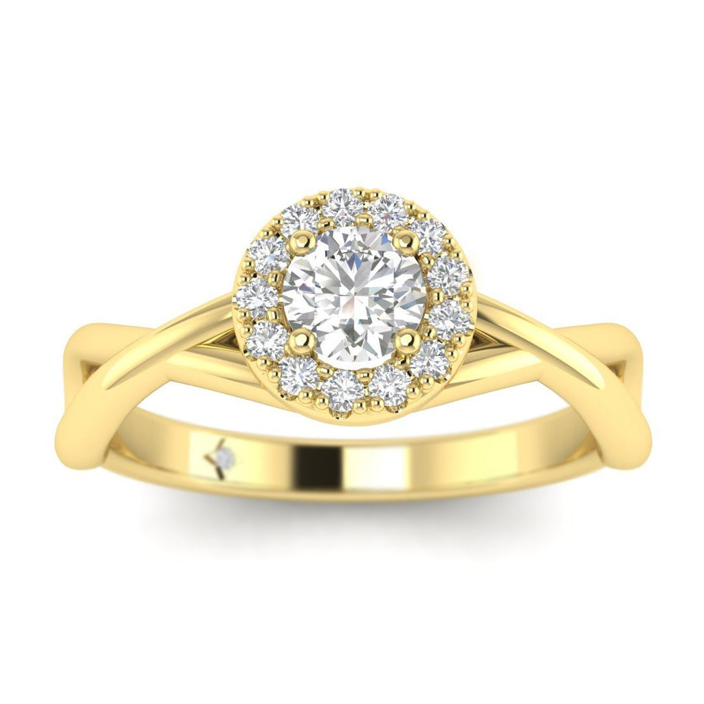 Round Diamond Twist Halo Engagement Ring in Yellow Gold - Custom Made