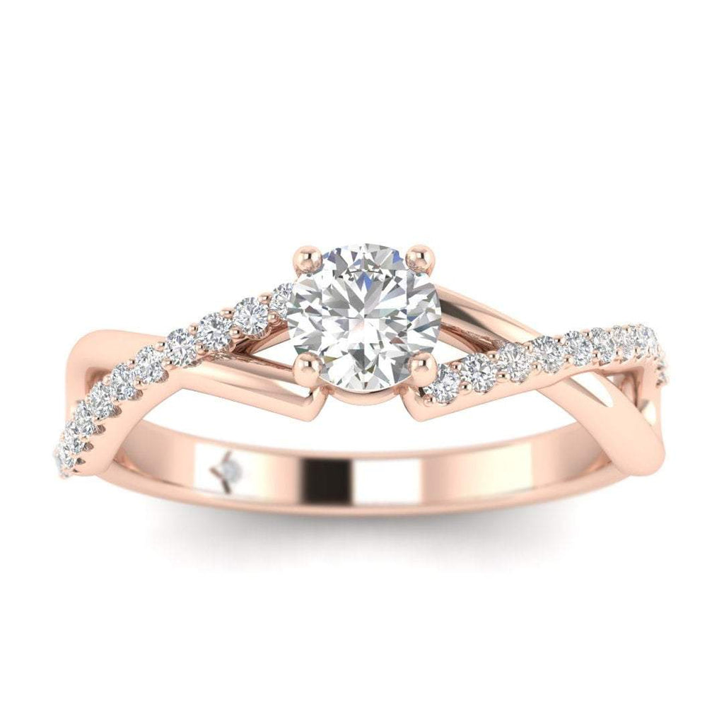 Round Diamond Twist Pave Engagement Ring in Rose Gold - Custom Made