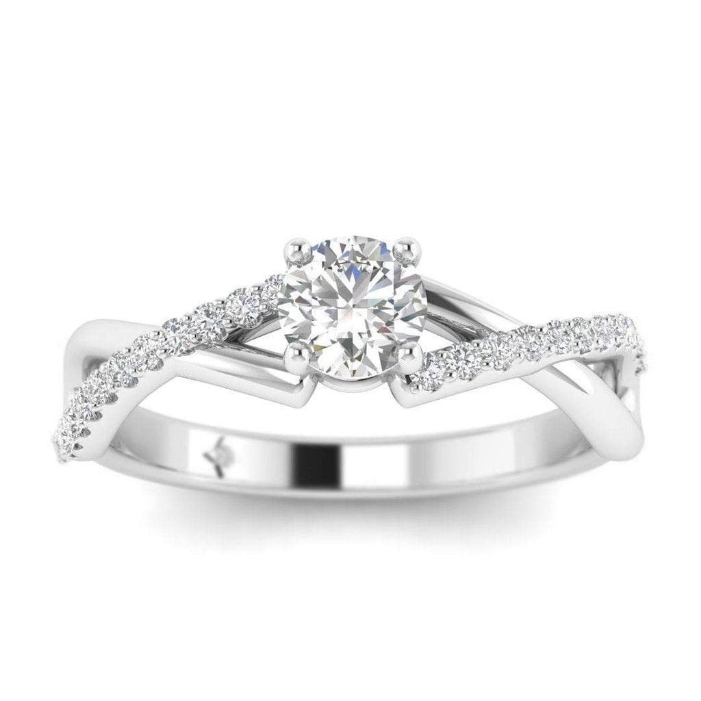 Round Diamond Twist Pave Engagement Ring in White Gold - Custom Made