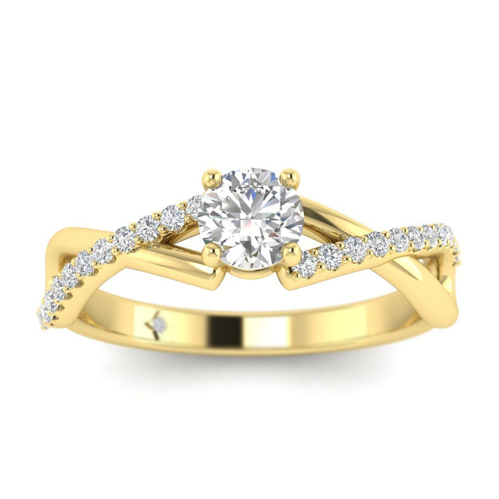 Round Diamond Twist Pave Engagement Ring in Yellow Gold - Custom Made