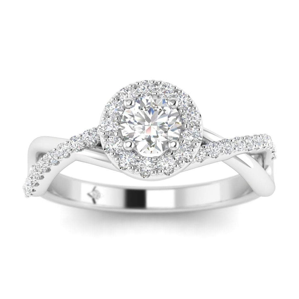 Round Diamond Twist Pave Halo Engagement Ring in White Gold - Custom Made