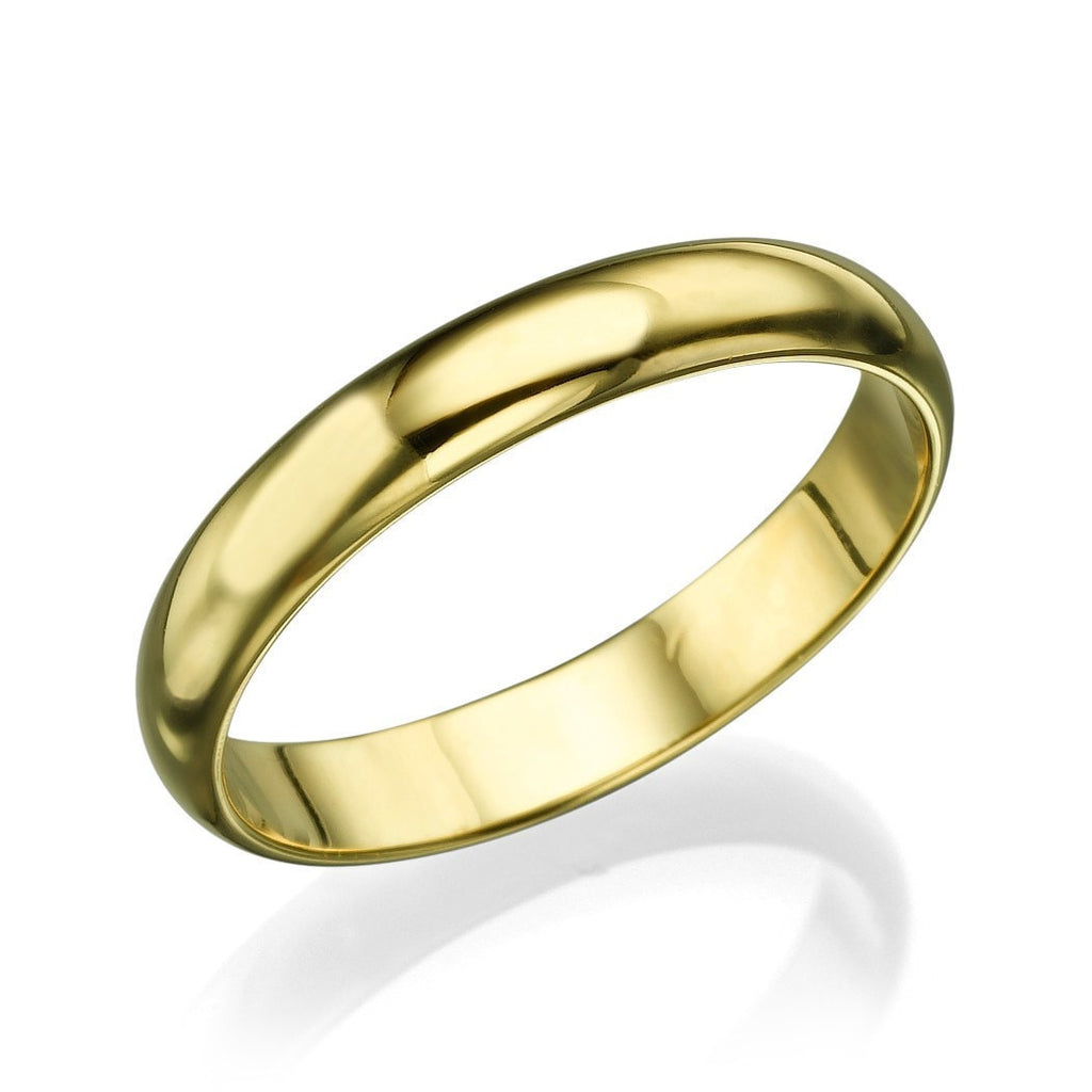 Solid 14k/18k Men's Yellow Gold Wedding Bands - 3.6mm Plain Rings - Custom Made