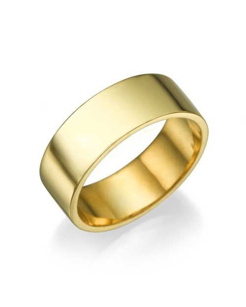 Solid 18k / 14k Yellow Gold Wedding Rings - 6.4mm Flat Bands - Custom Made
