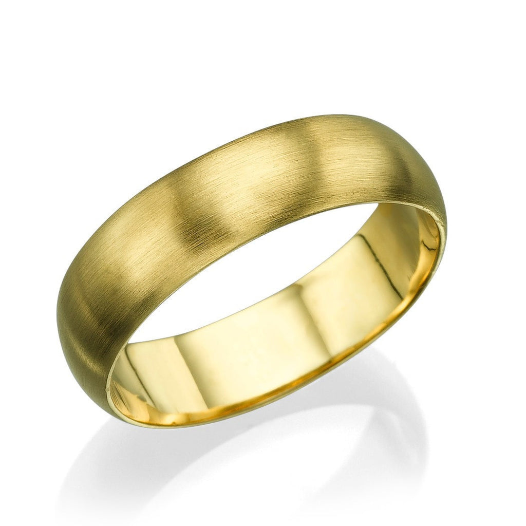 Solid Yellow Gold Wedding Bands for Him - 5.6mm Rounded Brushed Matte Rings - Custom Made