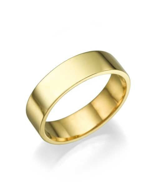 Solid Yellow Gold Wedding Rings for Her - 5.2mm Flat Design Bands - Custom Made