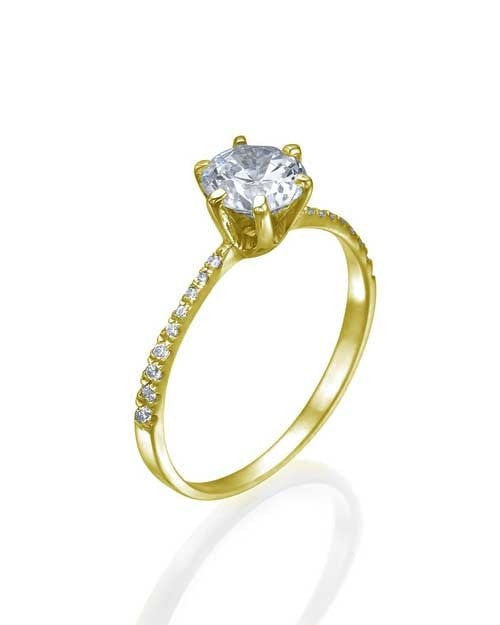 Engagement Rings Thin 6-Prong Yellow Gold Pave Diamond Mount Diamond Ring