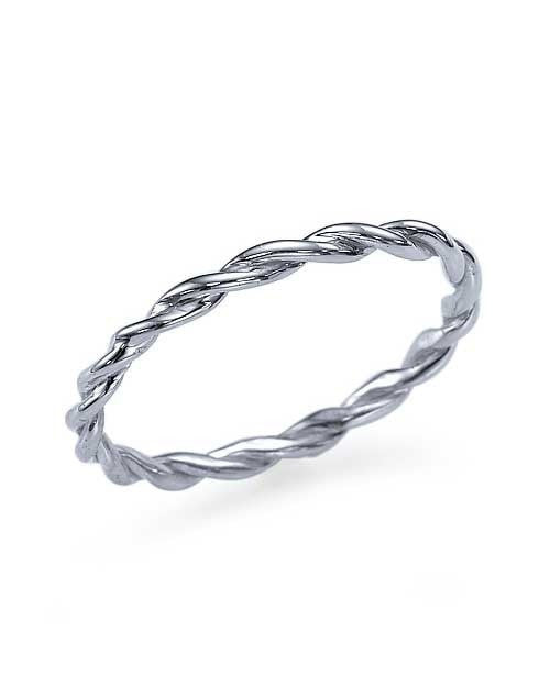 Wedding Rings Thin Twisted Platinum Wedding Band Ring
