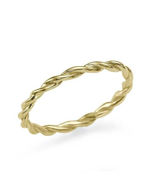 Thin Twisted Yellow Gold Wedding Band Ring by Shiree Odiz NY