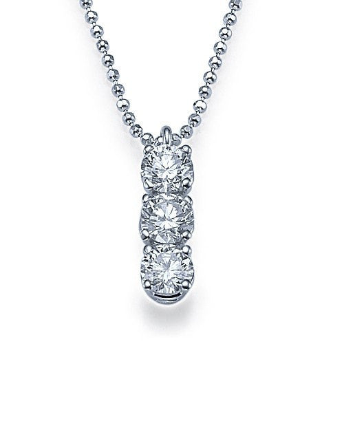 Pendants Trilogy 3-Stone Diamond Pendant Necklace in White Gold - 0.60 carat
