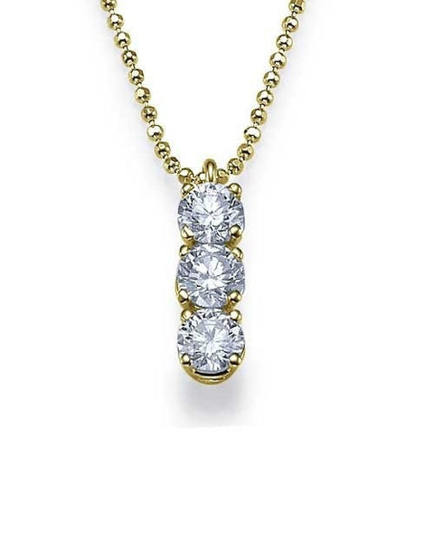 Pendants Trilogy 3-Stone Diamond Pendant Necklace in Yellow Gold - 0.60 carat