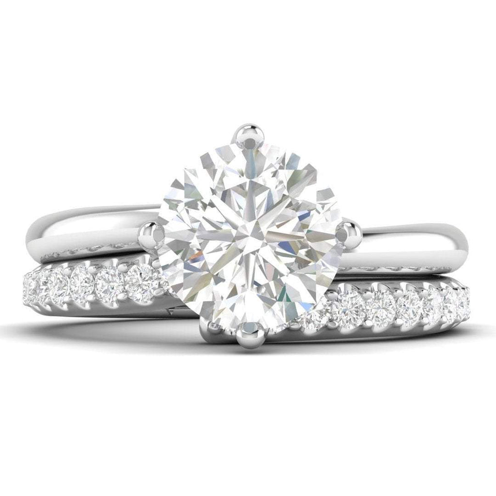 SD-14-CE-D-SI1-EX Twist Solitaire Round Natural F-VS2 Diamond Ring Bridal Set