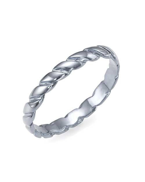 Wedding Rings Twisted Plain 14K or 18K White Gold Wedding Rings for Women