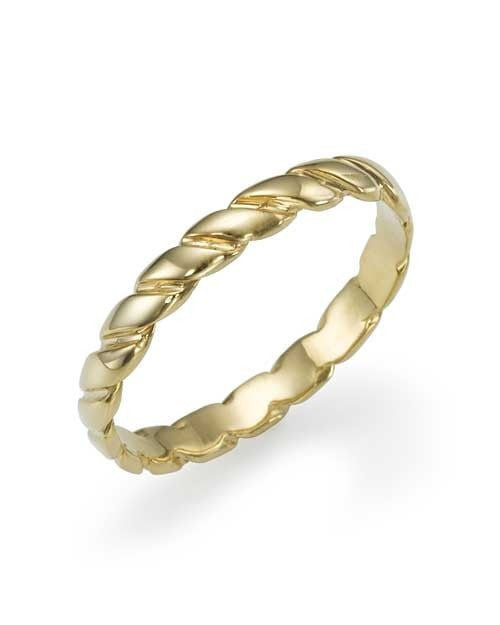 Twisted Plain Yellow Gold Women's Wedding Ring Band - Shiree Odiz