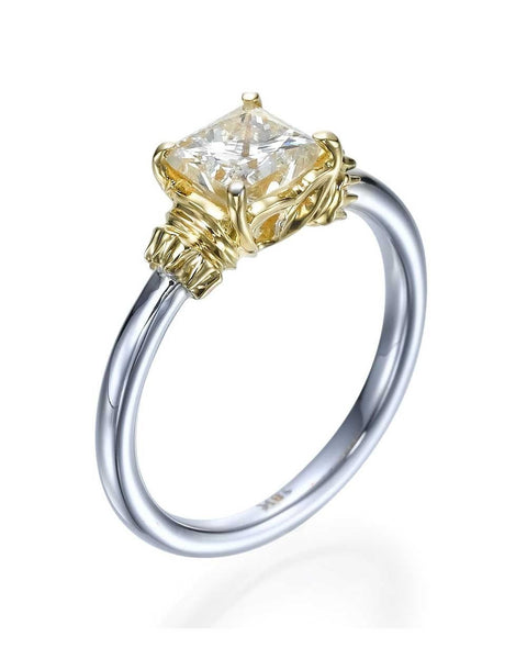 Engagement Rings Two-Tone Gold Princess Cut Vintage Design Semi Mount Ring