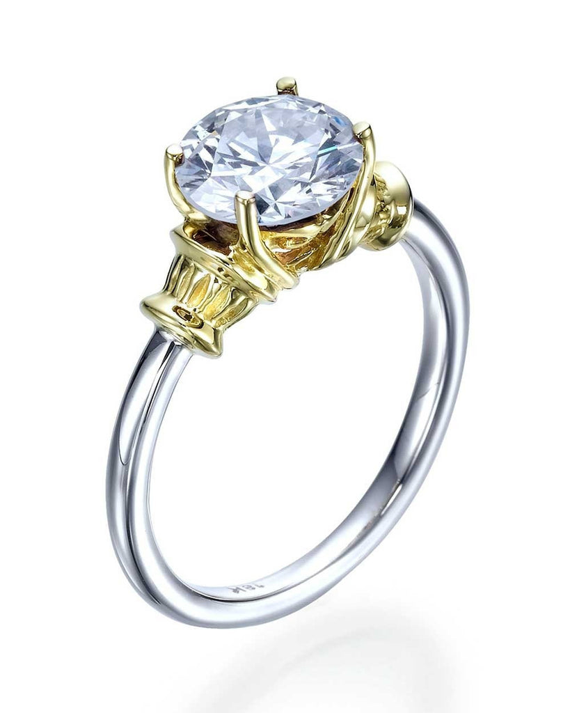 Two-Tone Gold Unique Vintage Antique Engagement Ring - 2ct Diamond - Custom Made