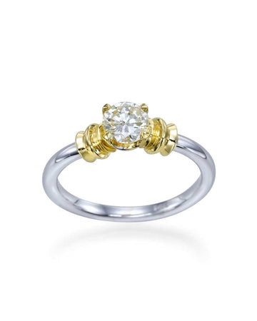 Engagement Rings Two-Tone Gold Vintage Designer Round Cut Mount Diamond Rings