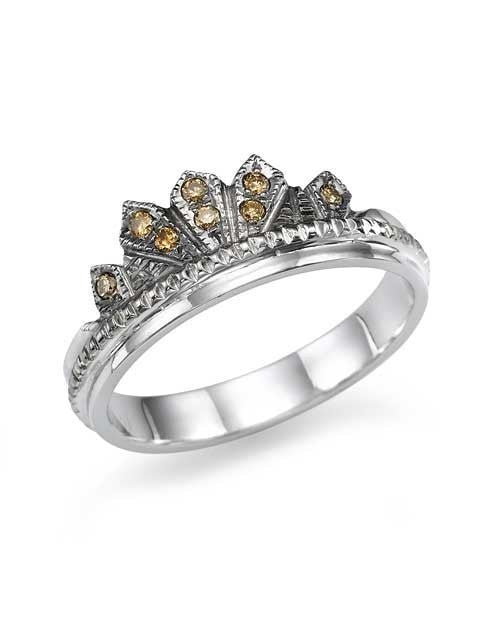Wedding Rings Unique 0.08ct Champagne Diamond Crown Platinum Wedding Ring