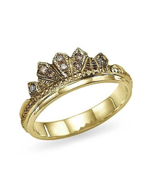 Unique 0.08ct Champagne Diamond Crown Yellow Gold Wedding Ring - Shiree Odiz