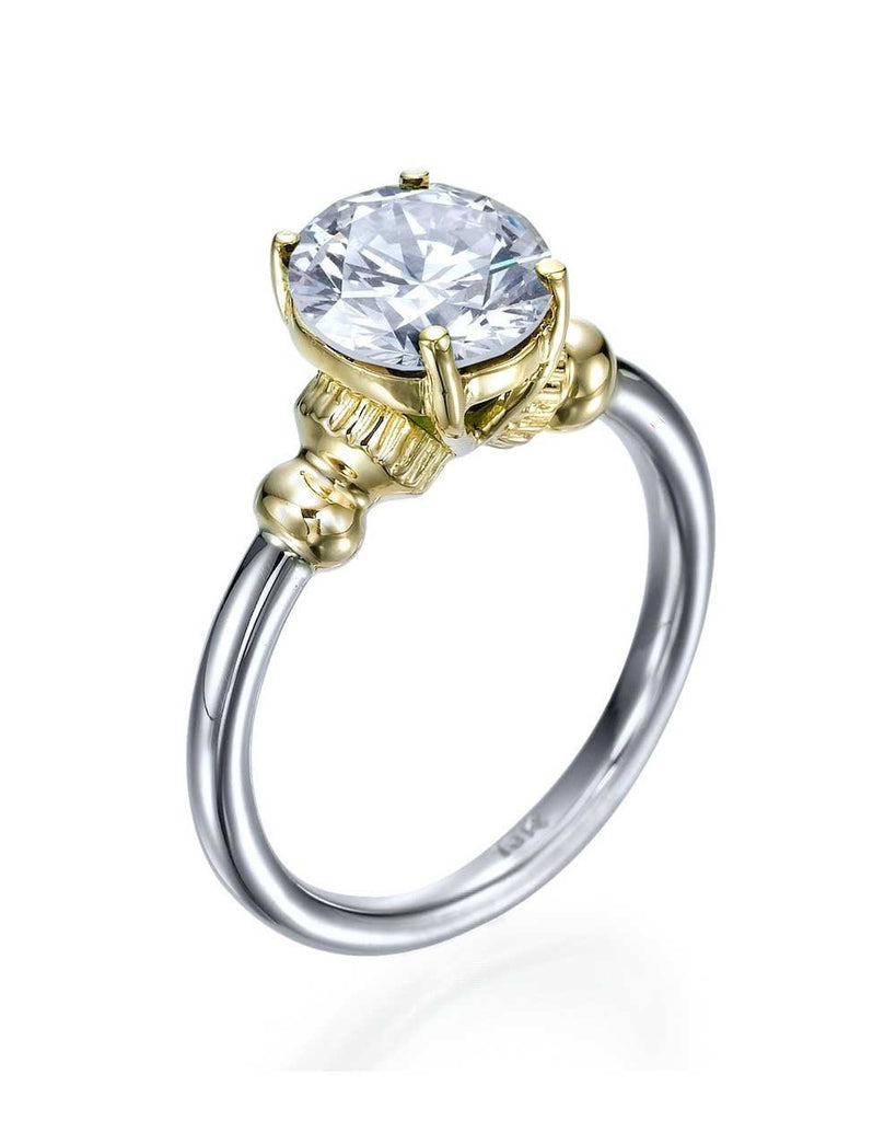 Unique 4-Prong Vintage Two-Tone Engagement Ring - 1.50 carat Diamond - Custom Made