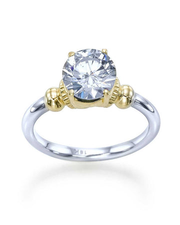 Engagement Rings Unique 4-Prong Vintage Two-Tone Semi Mount Ring Setting