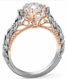 Unique Custom made Two Tone 14k white/rose Gold Diamond Ring - Custom Made