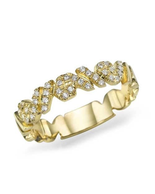 Unique Designer Diamond Wedding Ring iin Yellow Gold - Custom Made