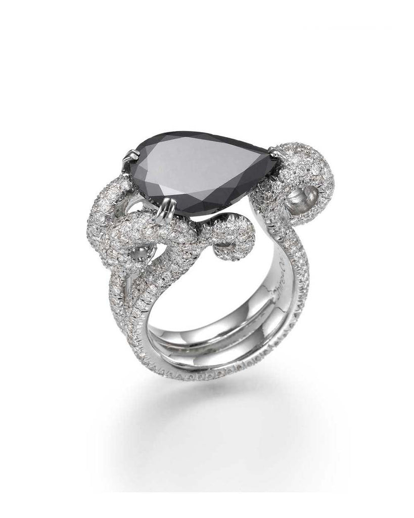 Tribal Unique Designer 'Oceana' Pear-shaped Black Diamond Tribal Ring