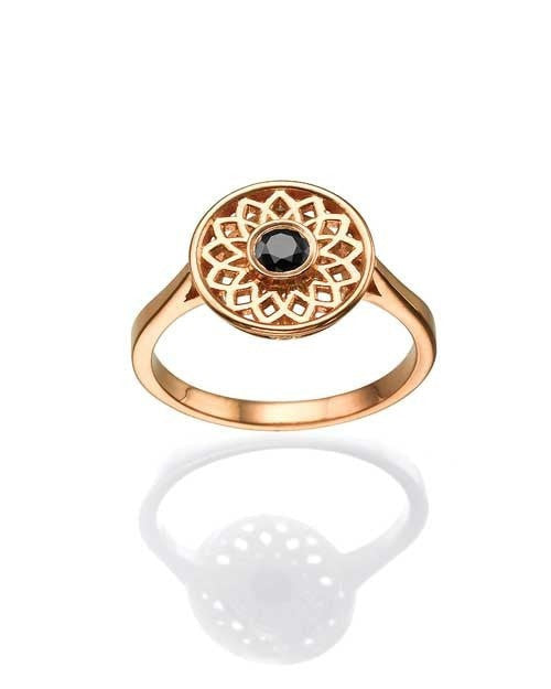 Mandala Unique, Designer Vintage Rose Gold, 0.29ct Black Diamond Right-hand Ring
