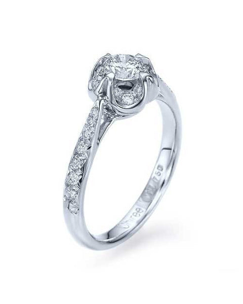 Engagement Rings Unique Flower Style Diamond Vintage Setting in Platinum