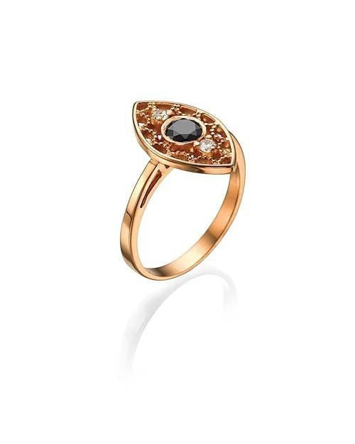 Unique, Milgrain Vintage Rose Gold, 0.38ct Black Diamond Right-hand Ring - Custom Made