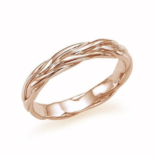 Unique Twisted Vines Wedding Band Ring in Rose Gold - Custom Made