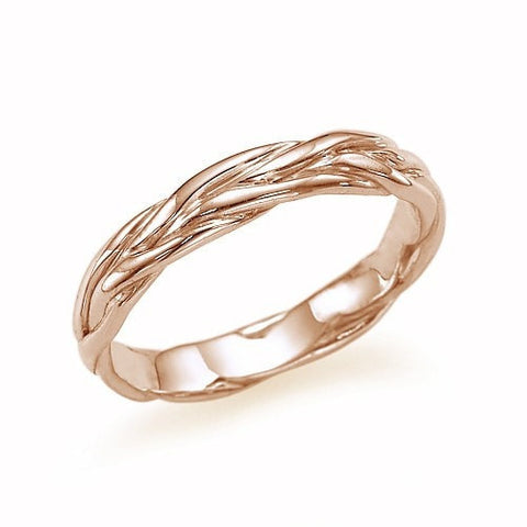 Wedding Rings Unique Twisted Vines Wedding Band Ring in Rose Gold