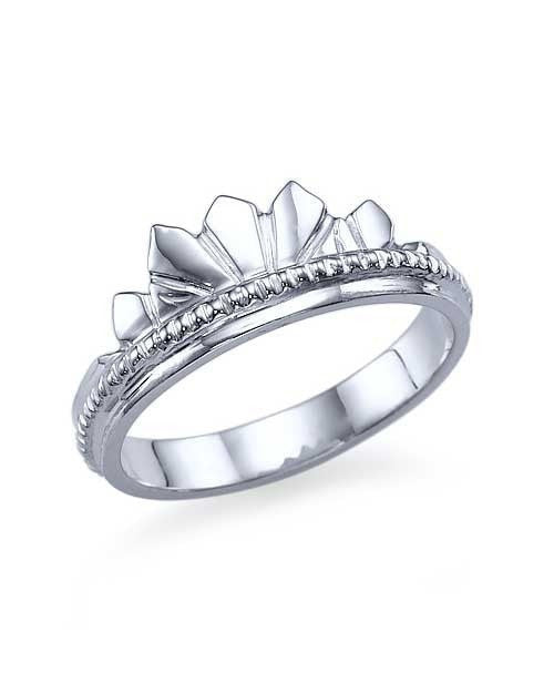 unique vintage crown white gold wedding ring by shiree odiz ny