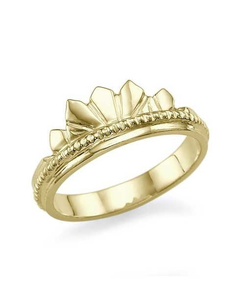 Unique, Vintage Crown Yellow Gold Wedding Ring - Custom Made