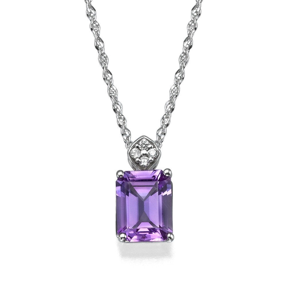 jewellery snowflake diamond purple amethyst zoom pendant and doble necklace preview