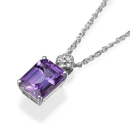 Pendants Unique Vintage Purple Sapphire Gemstone & Diamond Pendant Necklace