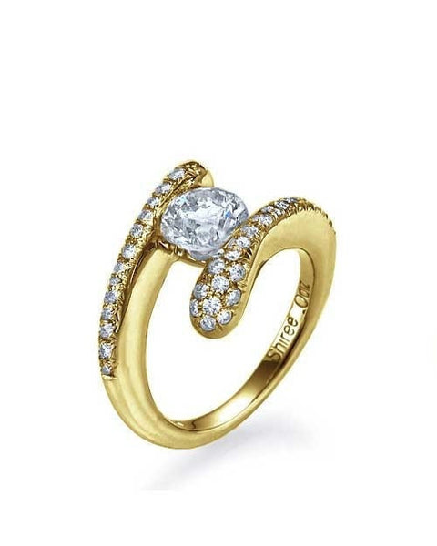 Engagement Rings Unique Yellow Gold Engagement Ring - 0.5ct Tension Set Diamond