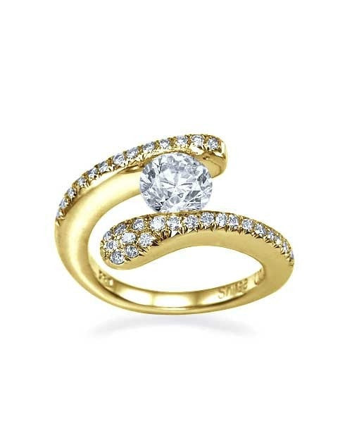 Unique Yellow Gold Engagement Ring - 0.5ct Tension Set Diamond - Custom Made