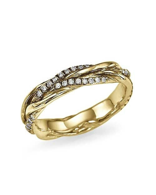 Unique Yellow Gold Twisted Vines 0.22ct Diamond Wedding Ring - Shiree Odiz