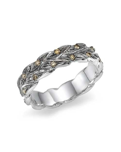 Wedding Rings Vintage Champagne Diamond Wedding Ring in Platinum
