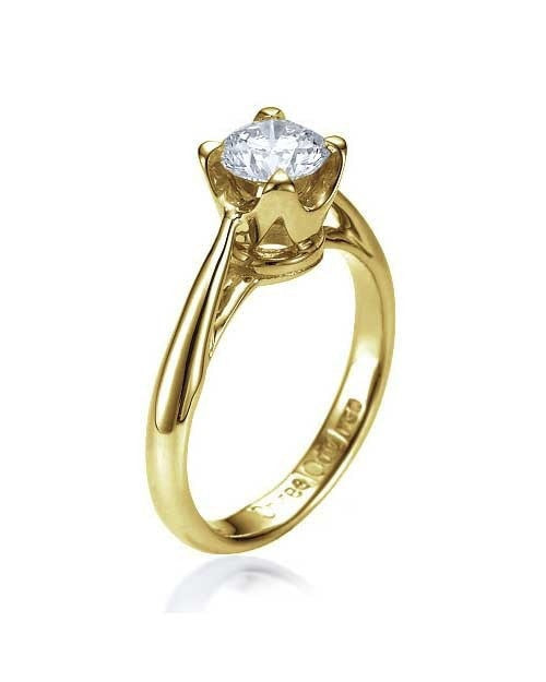 Engagement Rings Vintage Crown Cathedral Yellow Gold Engagement Ring - 0.75ct Diamond